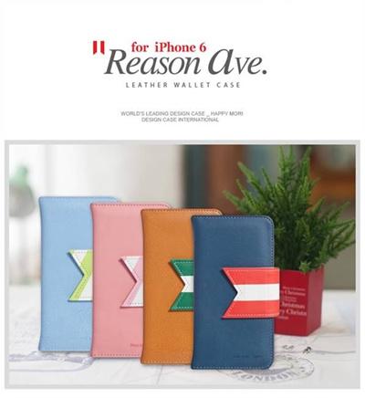 iPhone6カバーアイホン6 アイフォン6ケースiphoneケース アイフォン ブランド iphoneカバーiPhone6用 【iPhone6 4.7インチ】 Happymori Reason Ave. Diary (リーズンアベニューダイアリー )PU Leather Diary Case for iPhone 6【メール便送料無料】の画像