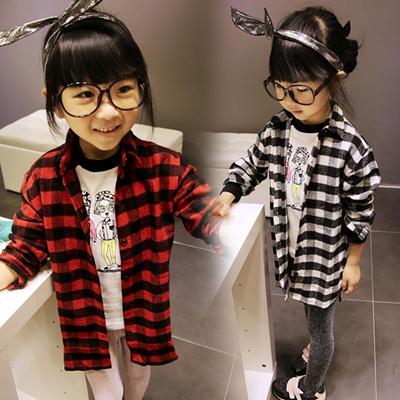 韓国子供服 韓国こども チェック柄ネルシャツ チェックシャツ チェックチュニック 長袖 ジュニア キッズ 女の子 子供 子供服  通園通学  綿素材 110cm~150cmの画像