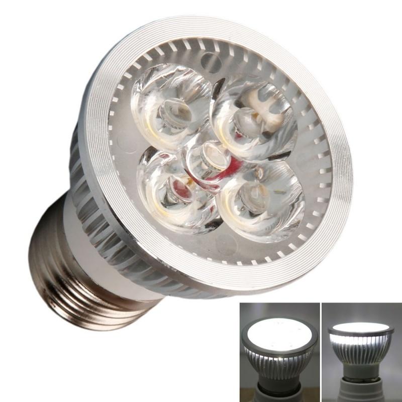【クリックで詳細表示】E27 4W 4 LED 400LM 6000K White Light Dimmable Spotlight Silver (220V)