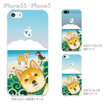【iPhone5S】【iPhone5】【まゆイヌ】【Clear Arts】【iPhone5ケース】【カバー】【スマホケース】【クリアケース】【柴犬と白い雲】 26-ip5s-md0042の画像