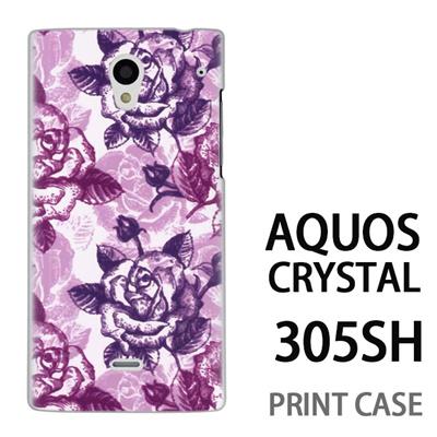 AQUOS CRYSTAL 305SH 用『0113 たくさんの薔薇 紫』特殊印刷ケース【 aquos crystal 305sh アクオス クリスタル アクオスクリスタル softbank ケース プリント カバー スマホケース スマホカバー 】の画像