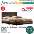 Furniture Living SG - New Queen size Bedframe + Mattress Package Set in Brown colour for only $198! Free Delivery + Installation
