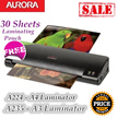 Aurora A3/A4 Hot and cold Laminator free 30 sheets of  laminating pouch.