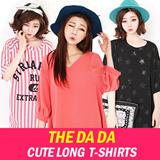 【The Da Da】1 Hot sale!!Summer new arrivals/ Girls' T-shirts/ Casual loose blouse/ long-sleeved stripe pattern shirts/ Girls' dress/Big size/A