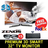 [ LED TV CRAZY LIMITED SALE ] 1080p FULL HD ZENOS POWERFUL 32 inch 3D SMART LED TV MONITOR +  5 Glasses + Remote
