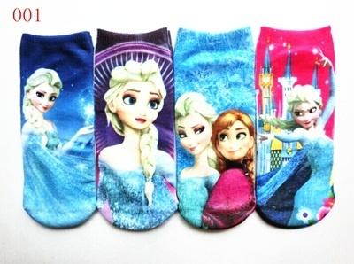 福袋★送料無料!001爆発的販売Frozenアナと雪の女王 キッズ靴下 可愛い靴下4足セットアナと雪の女王Elsaスニーカーソックスの画像