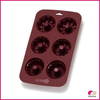 【日用品】 chaeum silicone シリコンクッキー型 6 hole (brown)HKS-089の画像