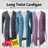 GET 3 PCS LONG TWIST CARDI FREE SHIPPING JABODETABEK! cardigan panjang bahan rajut size fit to L cocok untuk berhijab cardigan hijab baju hijab long cardi knit wear