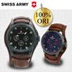 100 % original Swiss Army PMG – 119 Tali Kulit Coklat – Dial Hitam – Stopwatch Chronograph / UNISEX WATCH /BRANDED WATCH