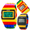Mens Ladies Blocks Constructor Digital LED Backlight Alarm Sport Wrist Watch Toy