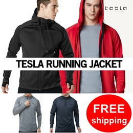 ★TESLA  hoodie Zip up T shirts Running Jacket★ Sports wear jacket T shirts light weight running