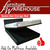 Queen Size Storage Bed | Add On Mattress Available | Furniture Warehouse