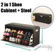 2 in 1 Shoe Cabinet Stool Storage Organizer Wardrobe Cube Shoes Rack Box Living Home Leather Household Furniture! No Assembly Required