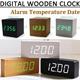 [Fashion  Convenient] Digital Wooden Clock LED Light Unique Alarm Clock Temperature Home Decoration Gift