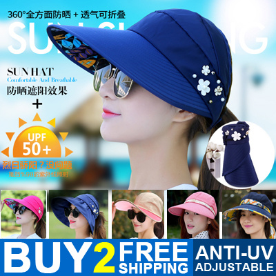 Buy 2 Free Shipping Women Fashion Hats Ladies Adjustable Anti-UV Sunscreen Caps Summer Cool Deals for only S$25.9 instead of S$0