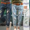 韓国が破れたジーンズの女 / ルーズコードマルクト9分ジーンズ女 /2017韓国ファッション新型破れジーンズ/やせたメガーヌジーンズ