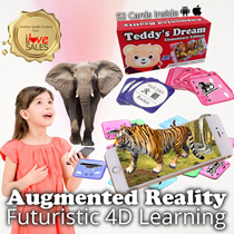 Teddys Dream Augmented Reality 4D Cards - 52 cards a set  / Educational Toy / Flash Cards ♥iLoveSALES♥