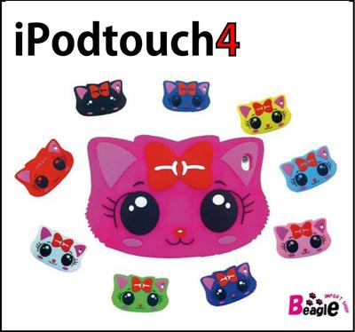 【メール便送料無料】◆iPod touch4(第4世代)/アイポッドタッチ4/ipodtoch4◆うるうるにゃんこシリコンケース カバー(猫/ネコ/キャット/ねこ)5002レビュー記入で保護シールGEの画像