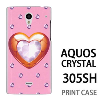 AQUOS CRYSTAL 305SH 用『0114 ハートとダイヤ ピンク』特殊印刷ケース【 aquos crystal 305sh アクオス クリスタル アクオスクリスタル softbank ケース プリント カバー スマホケース スマホカバー 】の画像