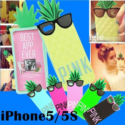 【メール便送料無料】iPhone5/iPhone5S パイナップルサングラス PINK シリコンケース 【カバ-/cover】【レビューを書いて保護フィルムをGET!!】【ふぃるむ film】2717の画像