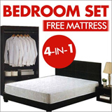 PROMOTION : BEDROOM SET with 1x Queen size bed frame 1x wardrobe 1x dressing table with stool 1x side table