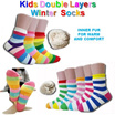 Winter Double Layers Kids Socks / Inner Fur/ Travel Socks/ Thermal socks/ bedtime socks/ Thick/ Warm/ Cashmere/ Wool / Price is for 2 pairs