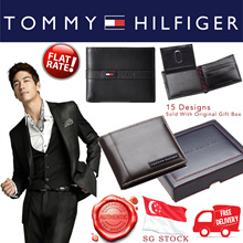 [SG STOCK~ FREE DELIVERY] Tommy Hilfiger Mens Leather Wallet with Gift Box
