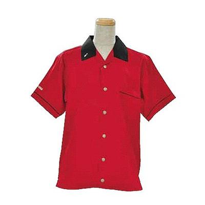 ABS(アメリカン ボウリング サービス) オープンシャツ 衿 ピン刺繍 レッド/ブラック A-995-6 【Pro-ama ボウリングウェア メンズ レディース ボーリング】の画像