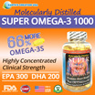 Earth's Creation Molecularly Distilled Super Omega-3 1000 Fish Oil Concentrate ♡ EPA 300mg DHA 200mg ♡ 90's Softgels ♡ Supports Heart Eye and Brain Health