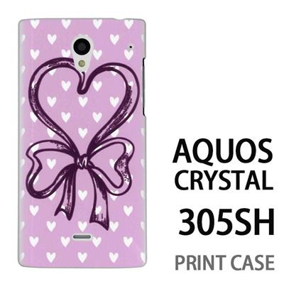 AQUOS CRYSTAL 305SH 用『0114 ハートリボン ピンク』特殊印刷ケース【 aquos crystal 305sh アクオス クリスタル アクオスクリスタル softbank ケース プリント カバー スマホケース スマホカバー 】の画像
