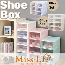 Shoe storage box-6Pcs in 1 box / women/men shoes storage boxes plastic shoe box/stackable