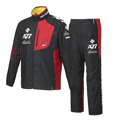 アシックス (asics) A77 ブレーカージャケット&パンツ 上下セット(ブラック×ハイレッド) XAW713-9022-XAW813-9022 [分類:ウインドブレーカー 上下セット (メンズ・ユニセックス)] 送料無料の画像