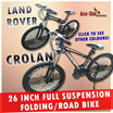 Land Rover 26 inch full suspension folding bike / Crolan Road Bike  *High carbon steel with 21 speeds shimano shifter and gear system / Weight 15.5 kg*