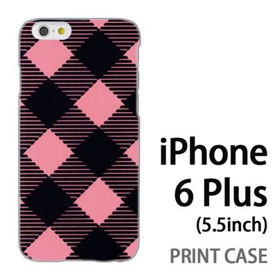 iPhone6 Plus (5.5インチ) 用『0908 斜めチェック 黒ピンク』特殊印刷ケース【 iphone6 plus iphone アイフォン アイフォン6 プラス au docomo softbank Apple ケース プリント カバー スマホケース スマホカバー 】の画像