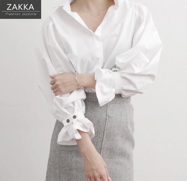 【送料無料】【即納】 人気 新型 ZAKKA  韓国ファッション 白シャツ パフスリーブシャツ ワンピース ショートシャツ ロングシャツ 長袖シャツ 韓国 シャツ レディース