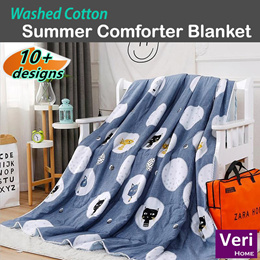 ★Washed Cotton Summer blanket/Summer comforter★Thin Quilt【Soft n Comfy/Machine washable】
