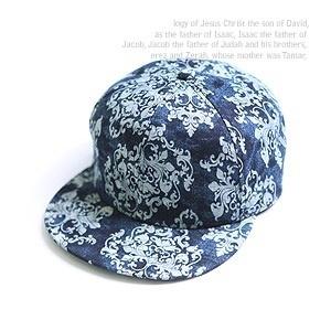 【クリックで詳細表示】K-POP Idol Style - Jackie Denim Snap Back Hip Hop Cap (Navy) + Free Gift(13097)