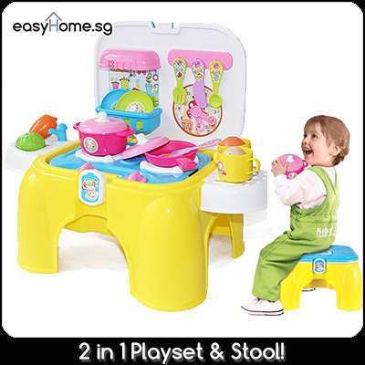 Qoo10 2 in 1 kitchen play set and stool yellow pink 2 for Qoo10 kitchen set