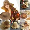 さん中空折りたたみ可能な太陽の帽子屋外の夏の太陽の日焼け止め手作りかぎ針編みのビーチ麦わら帽子