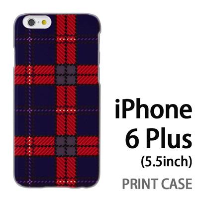 iPhone6 Plus (5.5インチ) 用『0908 ラインチェック 青赤』特殊印刷ケース【 iphone6 plus iphone アイフォン アイフォン6 プラス au docomo softbank Apple ケース プリント カバー スマホケース スマホカバー 】の画像