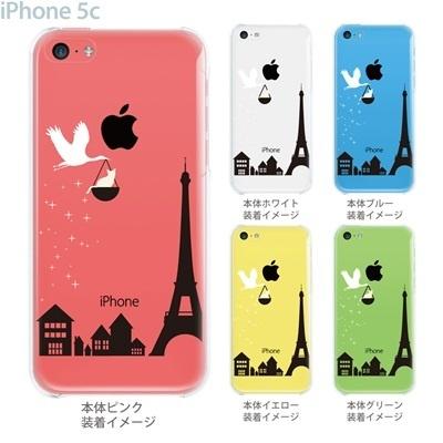 【iPhone5c】【iPhone5cケース】【iPhone5cカバー】【ケース】【カバー】【スマホケース】【クリアケース】【フラワー】【コウノトリとネコ】 22-ip5c-ca0097の画像