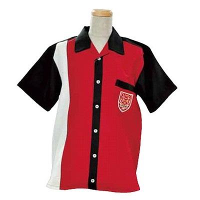 ABS(アメリカン ボウリング サービス) オープンシャツ 前身切り替え レッド/ブラック A-999-2 【Pro-ama ボウリングウェア メンズ レディース ボーリング】の画像
