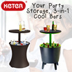 Keter Rattan Cool Bar / 3-in-1 Table / Multi Functional / cooler box / cocktail / garden party / Drinks storage