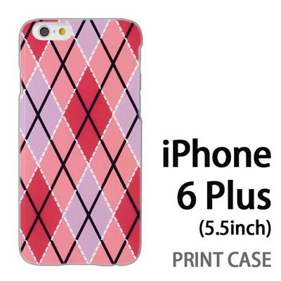 iPhone6 Plus (5.5インチ) 用『0908 菱形チェック ピンク』特殊印刷ケース【 iphone6 plus iphone アイフォン アイフォン6 プラス au docomo softbank Apple ケース プリント カバー スマホケース スマホカバー 】の画像