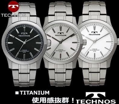 TECHNOS/テクノス 薄型&軽量&オールチタン腕時計メンズ T1079IWの画像