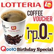 [Qoo10 Birthday Party] Lotteria FREE Coffee ! Rp.0 !