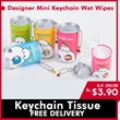 ◆Pure RO Water Wet Wipes Tissue with Mildly Aloe vera◆Mini Bottle wet tissue/Key chain wet tissue/ Thick wet wipes