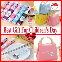 Best Gift For Children's Day Travel Tableware Set 3in1 Stainless Steel Fork Spoon Lunch Bag
