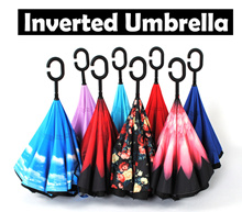 ◣INVERTED UMBRELLA◥★ Reverse Umbrella ★ Double Layered Design Inverted Umbrella ★fashion★LED★rack★