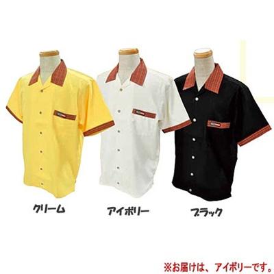 ABS(アメリカン ボウリング サービス) オープンシャツ 衿 チェック アイボリー A-412-1 【Pro-ama ボウリングウェア メンズ レディース ボーリング】の画像